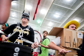 The #NIUMarchingBand rehearse in their Halloween costumes. Did you know Batman played drums?